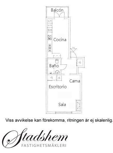Plano del departamento de 36 metros