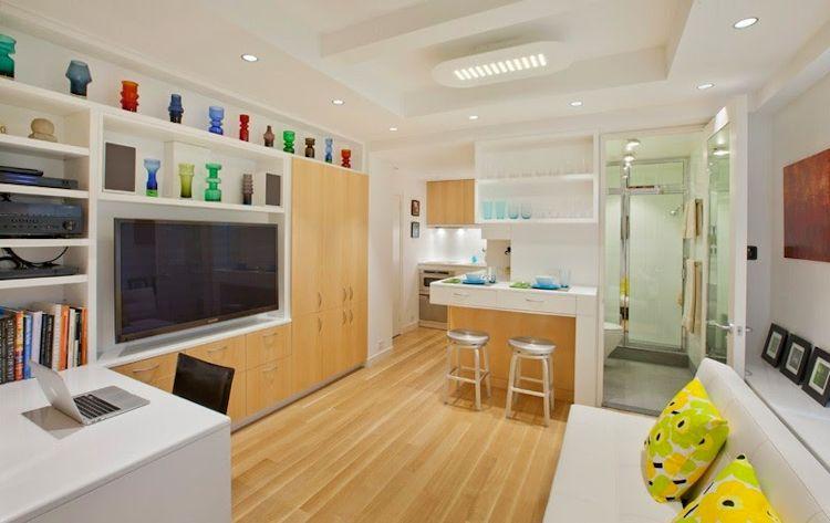 Ambiente principal del estudio con diseño contemporáneo y espacio de guardado