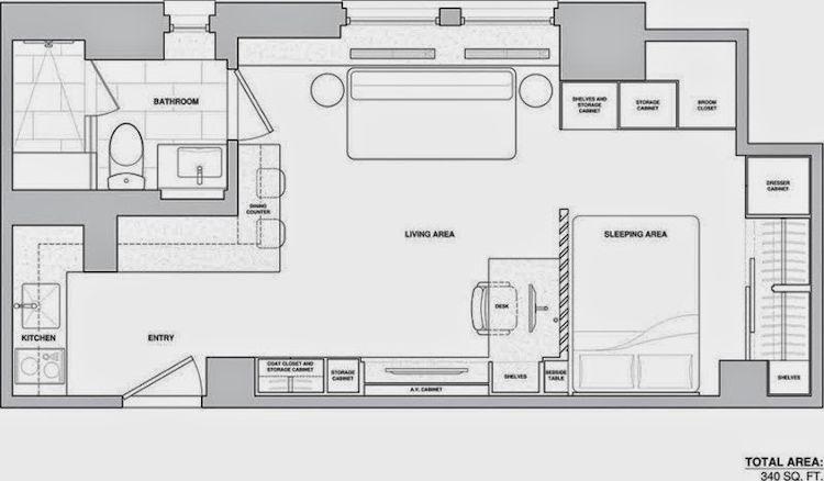 Plano del estudio de 31 metros²