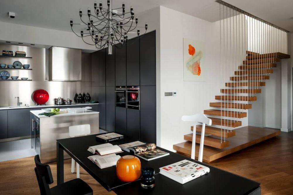 Interiores de un departamento de dise o contempor neo Decoracion contemporanea de interiores
