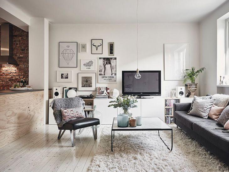 Decoración de departamentos de 2 dormitorios en estilo escandinavo 1