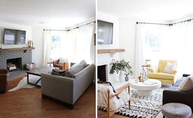 Antes y después en la decoración de la sala 1