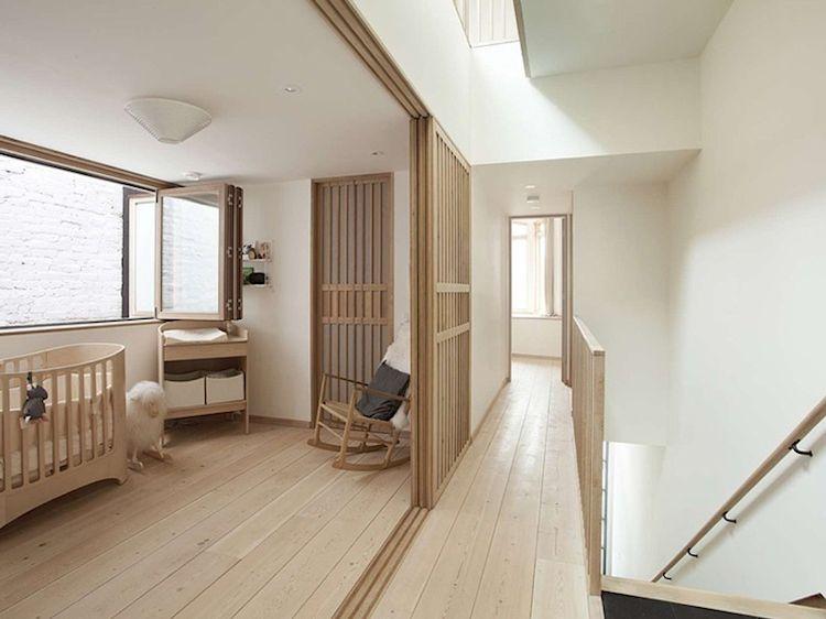 Puertas corredizas que recuerdan a las tradicionales puertas de las casas japonesas