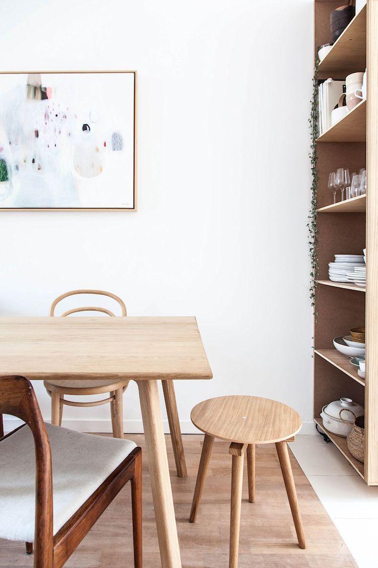 Espacio de guardado adicional provisto por un gran mueble que separa visualmente la cocina del comedor