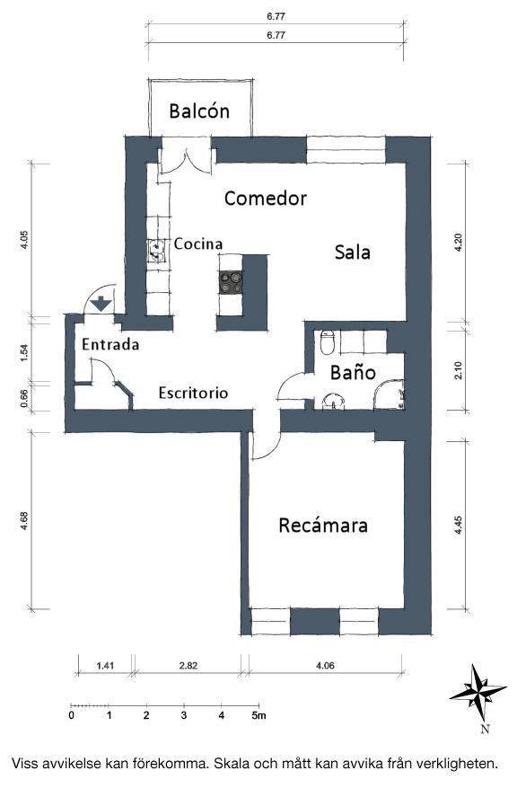 Plano del departamento de una recámara y 65 metros cuadrados.