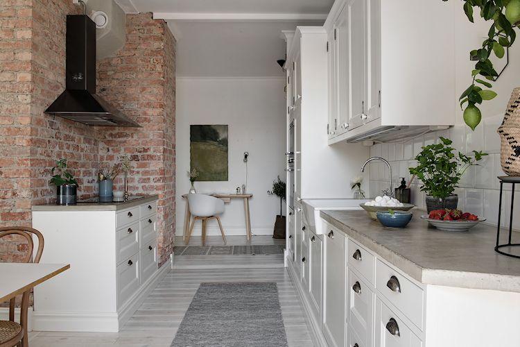 Muebles de cocina y alacenas estilo campestre pero contemporáneos a la vez.