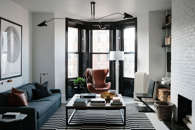 Decoración de un departamento en blanco, negro y gris