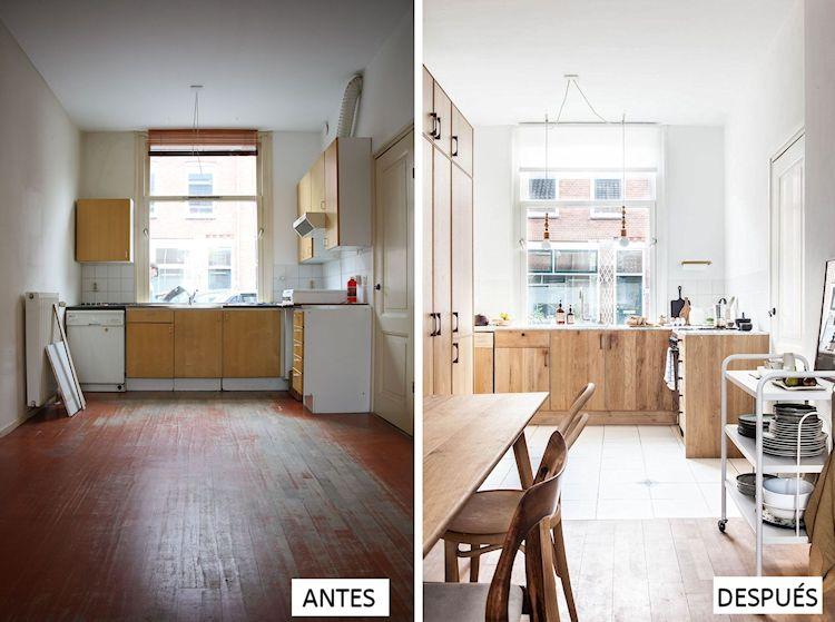 Transformación total: el antes y después de una cocina con comedor ...