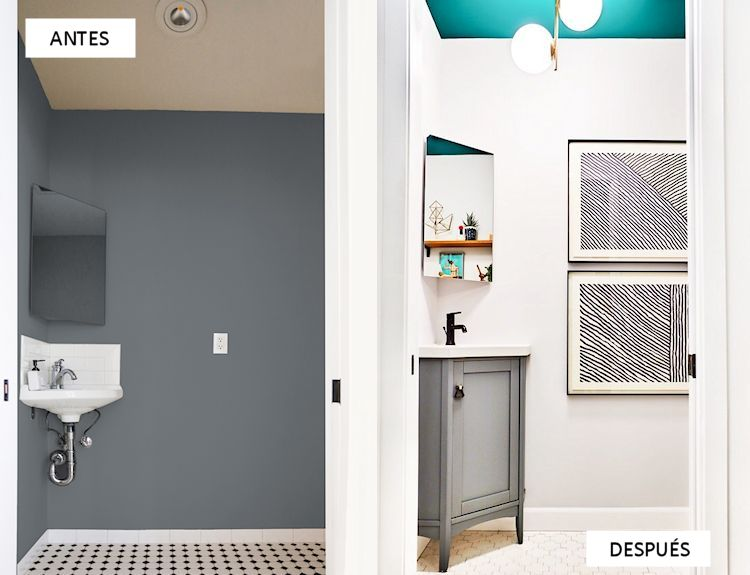 Reforma express: antes y después de un baño pequeño