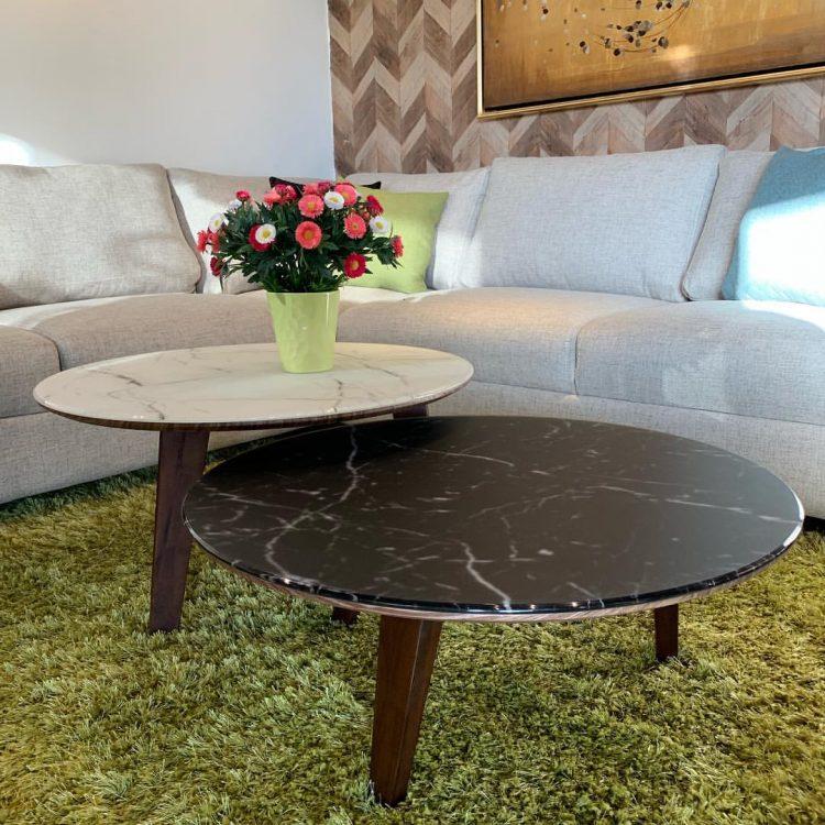 Mesas de centro redondas con tapa de mármol en diferentes colores
