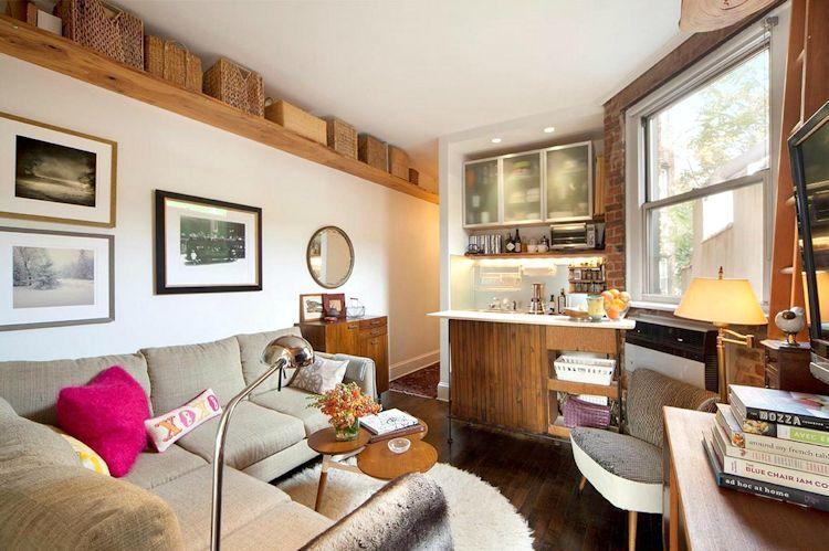 Sala, comedor y cocina con decoración moderna e industrial
