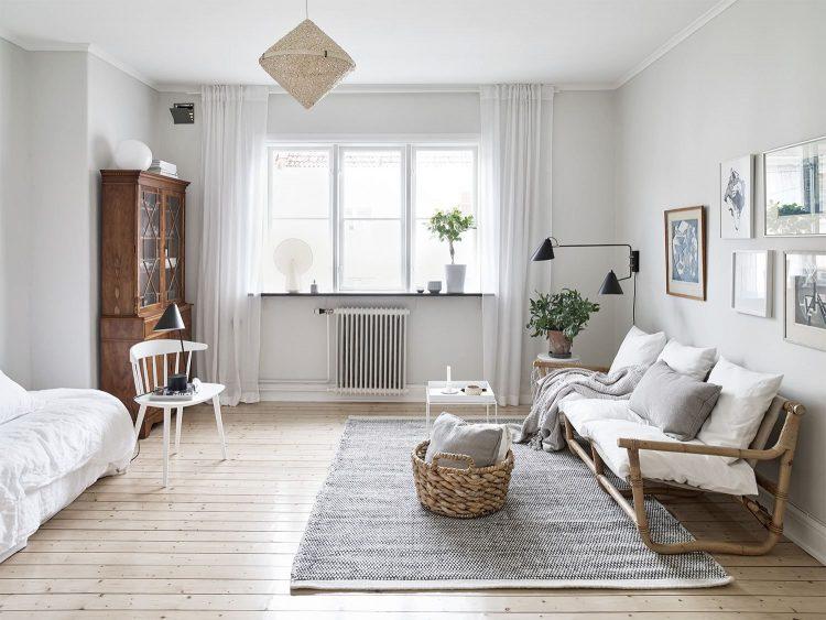 Interiores minimalistas en un estudio departamento escandinavo