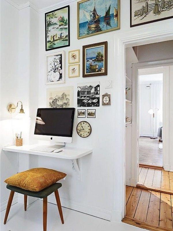 Tabla de madera con soportes de pared crean un escritorio sin ocupar demasiado lugar