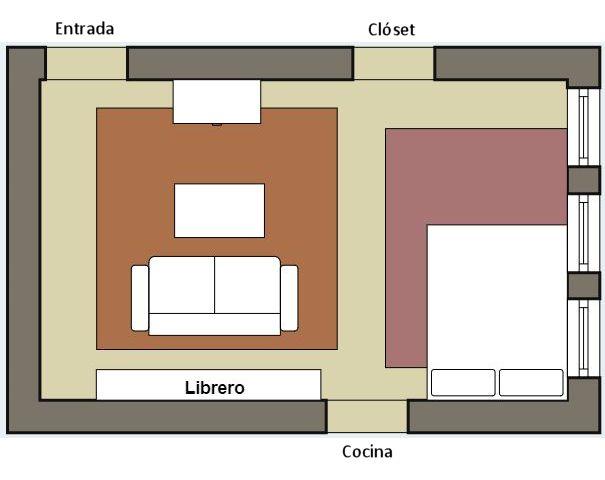 Plano del departamento con distribución de muebles original