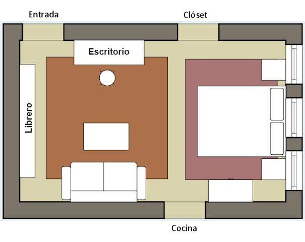 Plano del departamento con nueva distribución de muebles