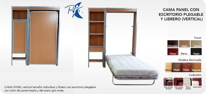 Plegart Camas Escondidas - Camas abatibles con librero y escritorio plegable 3