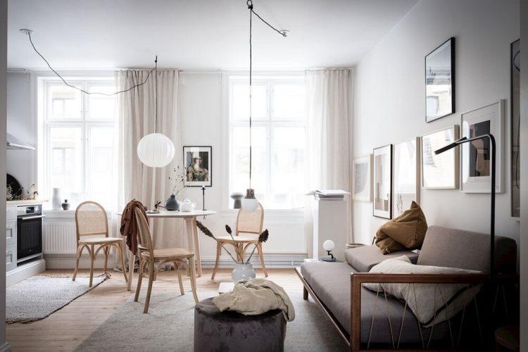 Diseño de interiores de departamentos pequeños: 32 metros² en estilo escandinavo