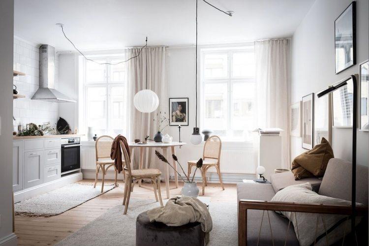 Diseño de interiores de departamentos pequeños en estilo escandinavo
