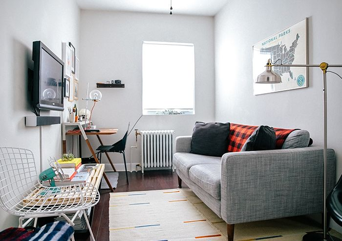 Escritorio en sala pequeña