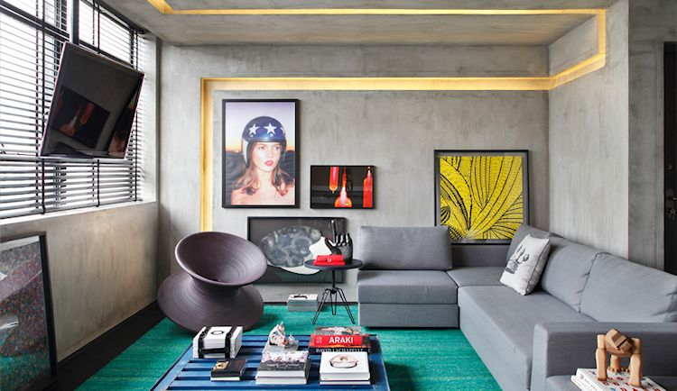 Departamento pequeño contemporáneo con paredes de concreto pulido 2