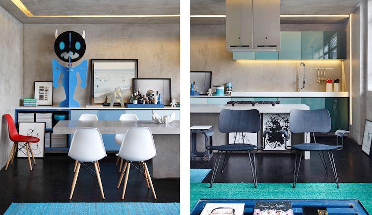 Departamento pequeño contemporáneo con paredes de concreto pulido 3