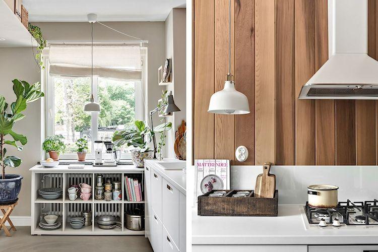 Cocina pequeña de diseño escandinavo con paredes revestidas en madera de cedro.