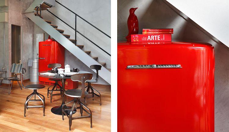 Departamento contemporáneo colorido con acentos en estilo industrial 2