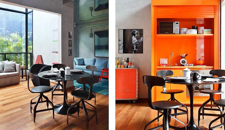 Departamento contemporáneo colorido con acentos en estilo industrial 3
