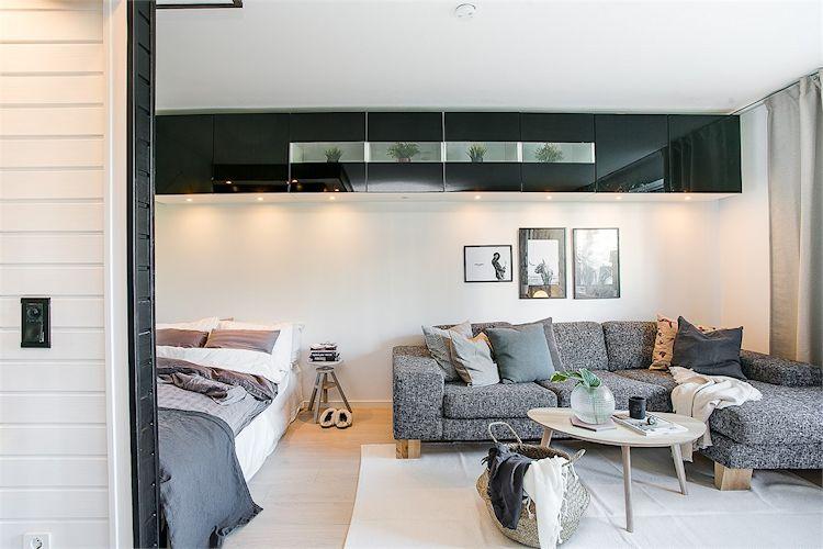 Sala con diseño escandinavo, contemporáneo y masculino 1
