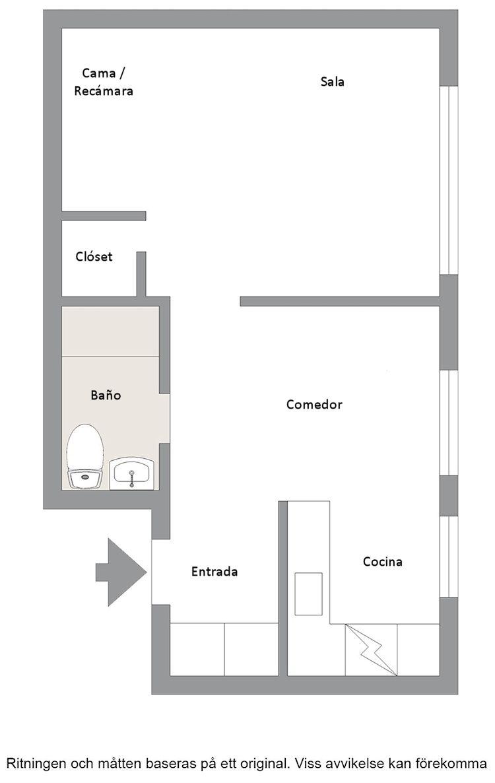 Plano del estudio / departamento de 41 metros cuadrados.