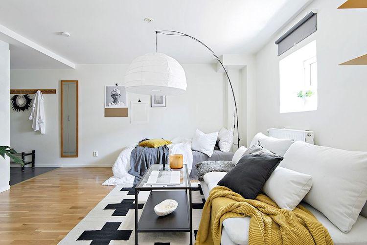 Decoración estudio departamento minimalista de 33 metros²