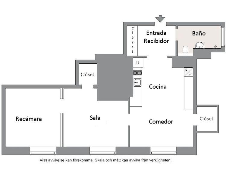 Plano del departamento de 33 metros cuadros y ambientes separados - compartimentados