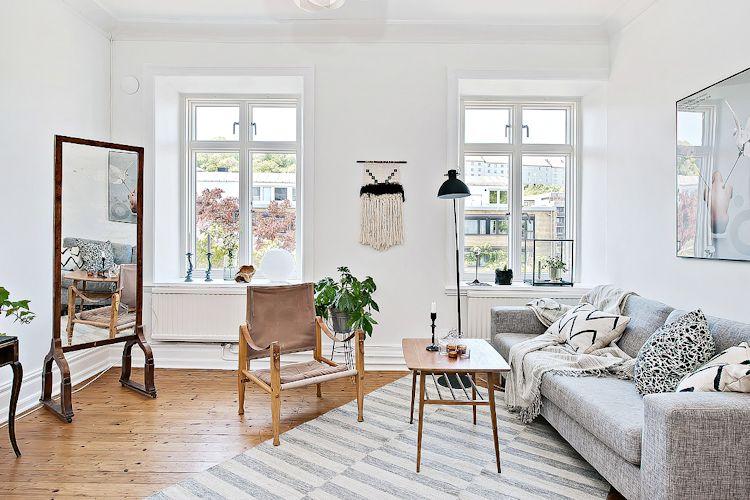 Espacios pequeños: estudio con decoración escandinava vintage 1