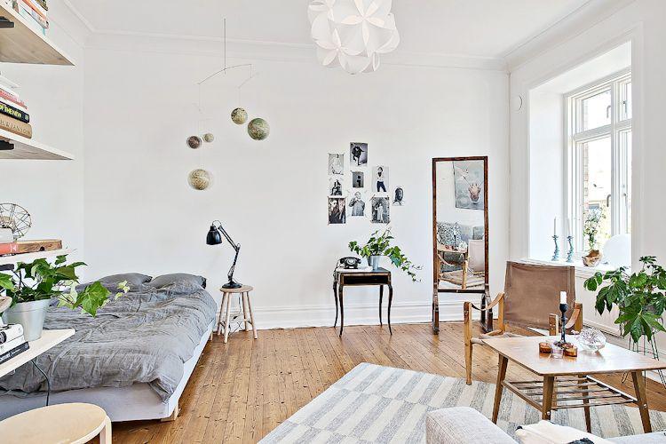 Espacios pequeños: estudio con decoración escandinava vintage 3