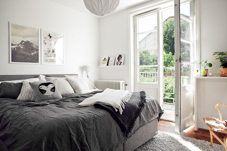 Decoración recámara escandinava: blanco y gris como colores principales