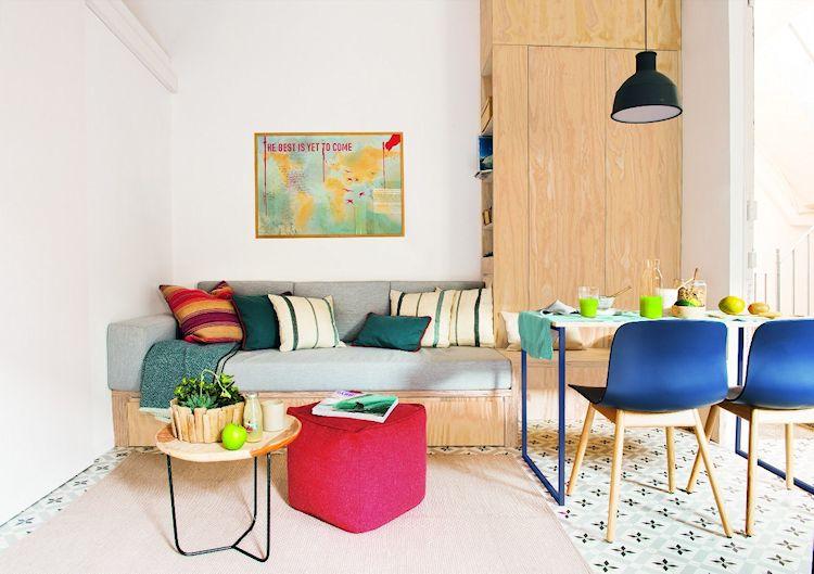 Departamento pequeño con muebles económicos de triplay