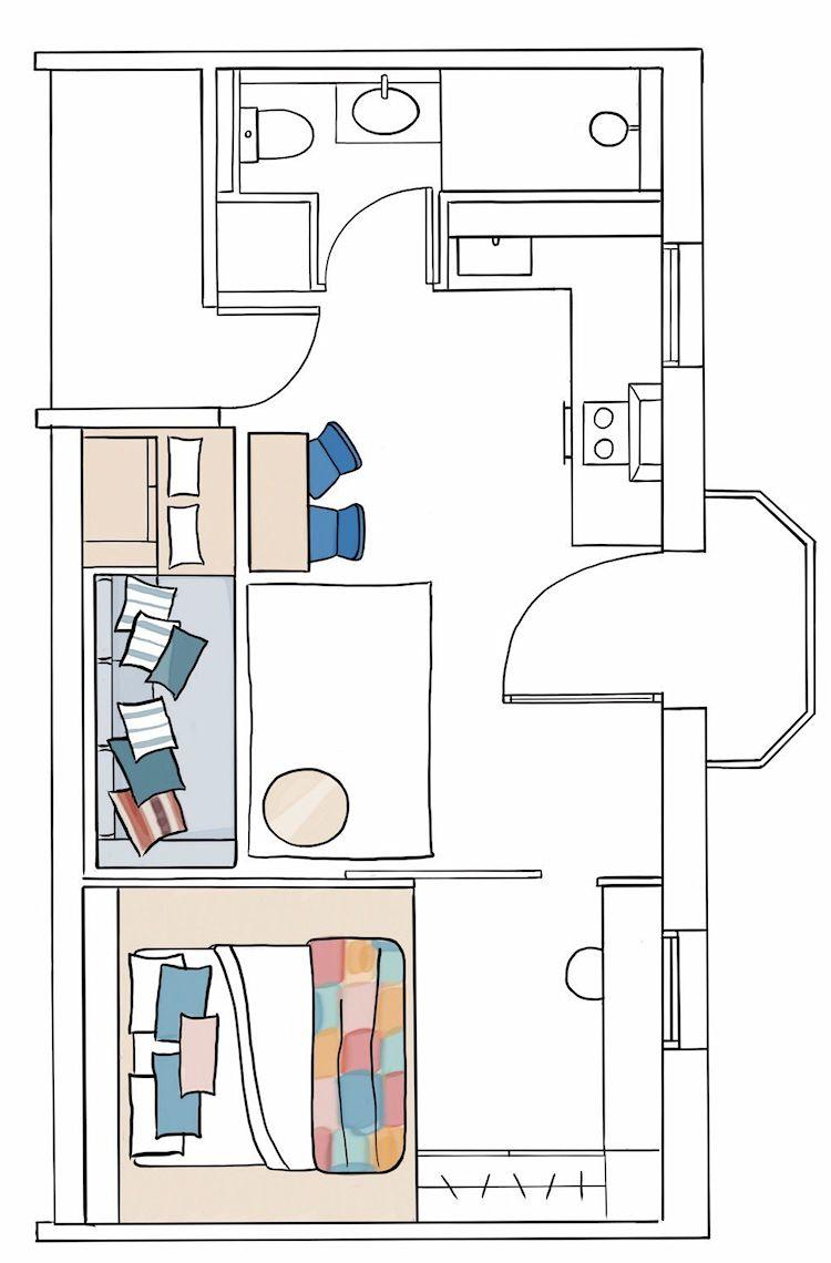 Plano del departamento de 30 metros cuadrados